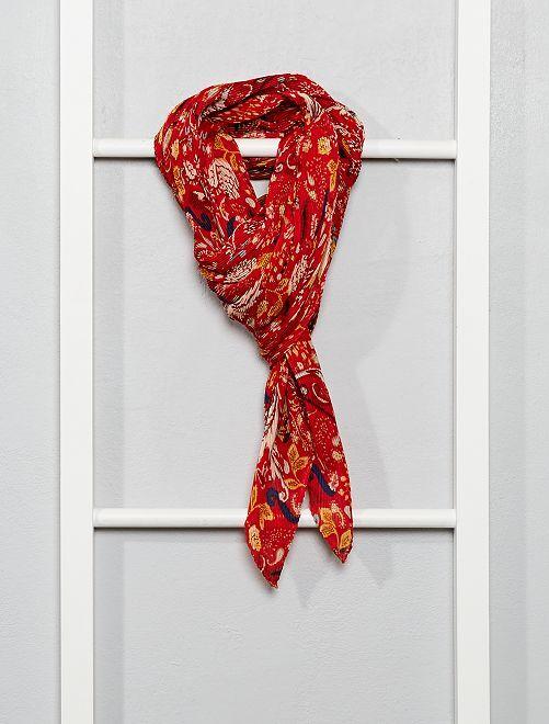 Foulard carré plissé à fleurs                                         rouge