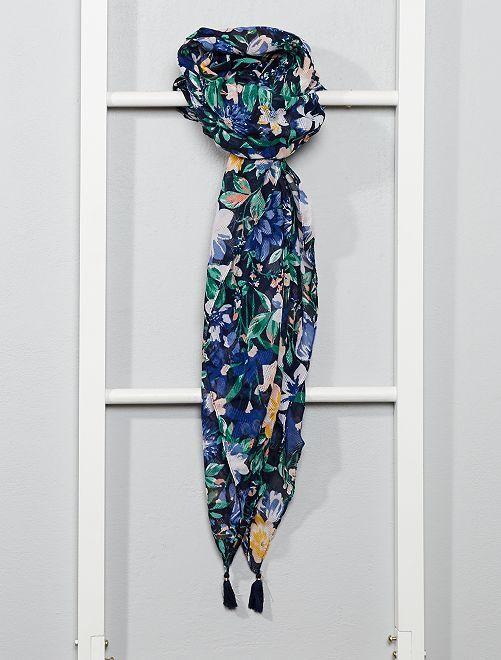 Foulard en tissu imprimé                                         bleu fleurs