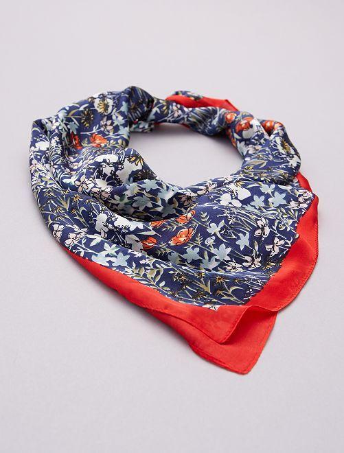 Foulard façon carré de soie                             rouge/bleu marine