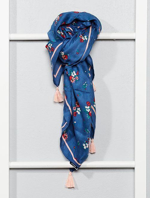 Foulard fleuri à pompons                                         bleu Fille adolescente