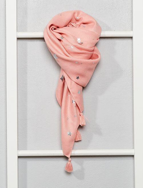 Foulard fluide étoiles argentées                                         rose