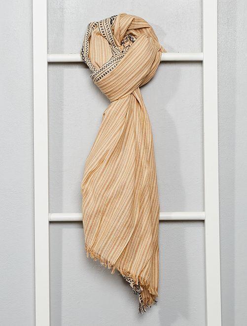 Foulard 'Ikat' en coton tissé                                         beige/écru