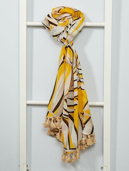 Foulard imprimé 'feuillage'                                         jaune