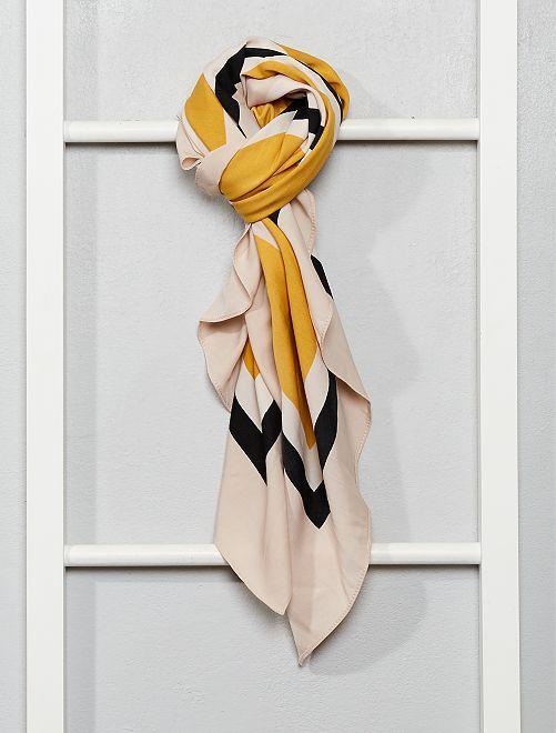Foulard imprimé géométrique                                         beige/jaune/noir