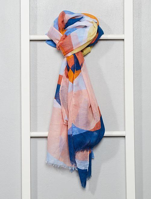 Foulard imprimé géométrique                             orange/bleu/jaune