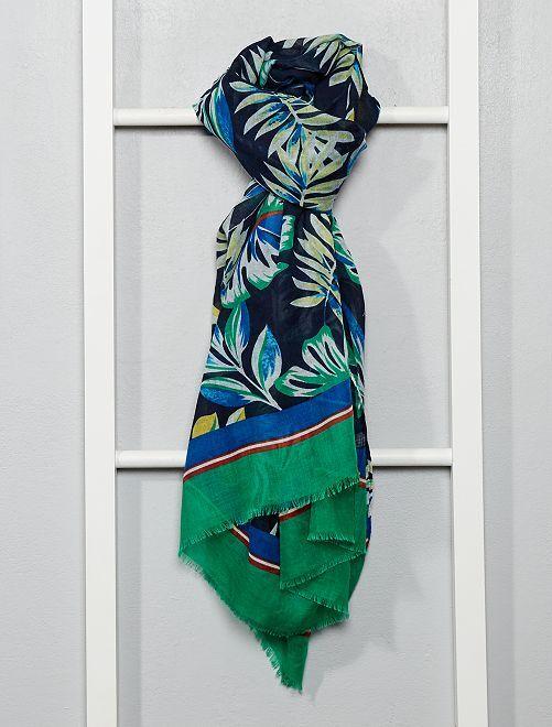 Foulard imprimé tropical                             vert/bleu/jaune