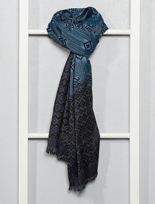 Foulard motif ikat                                         bleu