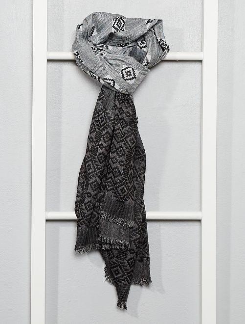 Foulard motif ikat                                         gris