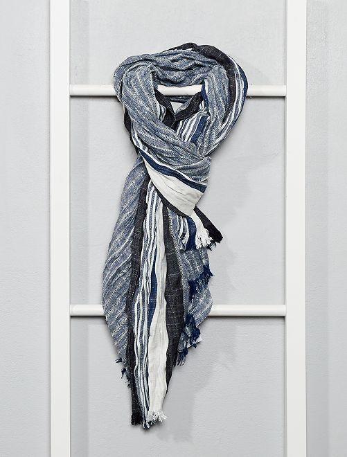 Foulard rayé style chèche                                         bleu