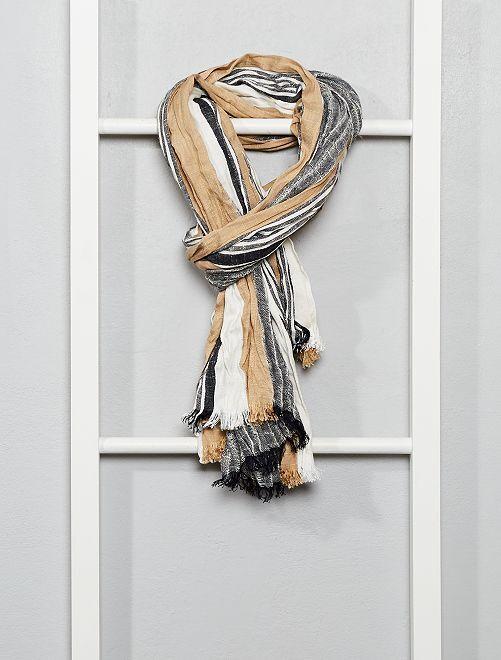 Foulard rayé style chèche                                         bleu/beige