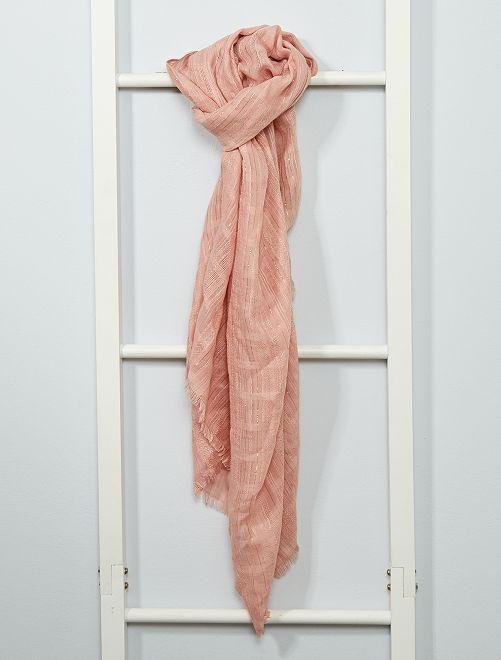 Foulard rectangulaire avec fils dorés                                         rose