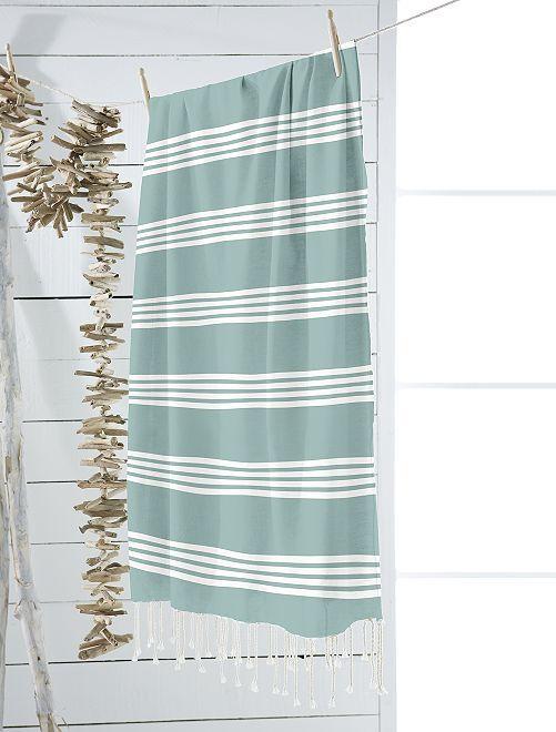 Fouta à rayures                                                                             bleu vert rayé Linge de lit