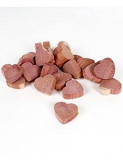Déco textile - Galets 'coeurs' en bois de cèdre anti-mites