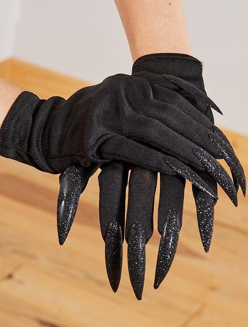 Gants avec faux ongles                             noir
