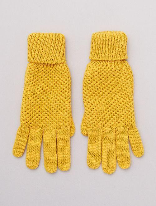 Gants en maille fantaisie                                         jaune
