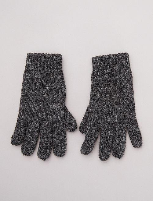 Gants en tricot doublés polaire                             gris chiné