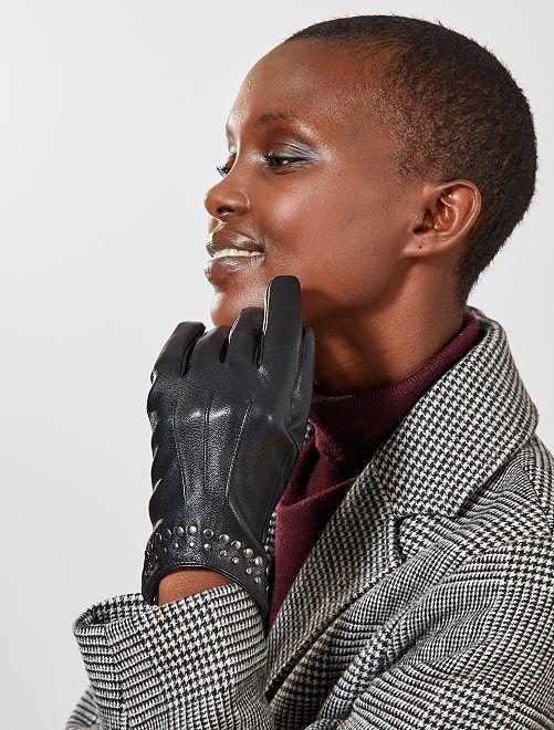 Gants simili avec clous                             noir