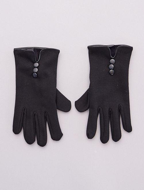 Gants tactiles en jersey chauds                             noir