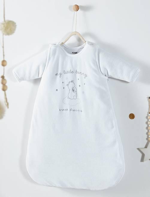 Gigoteuse en velours manches amovibles                             blanc Bébé fille