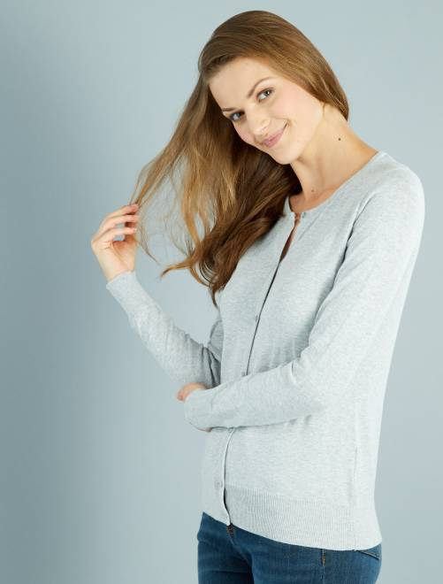 Gilet boutonné en maille fine gris chiné clair Femme