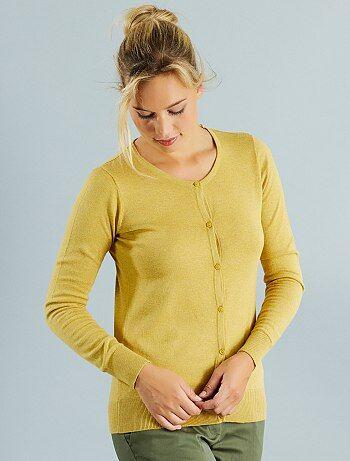 Gilet boutonné en maille fine                                                                                                                                                                                                     jaune chiné Femme