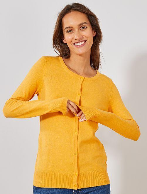 Gilet boutonné en maille fine                                                                                                                                                                                                                                                     jaune Femme
