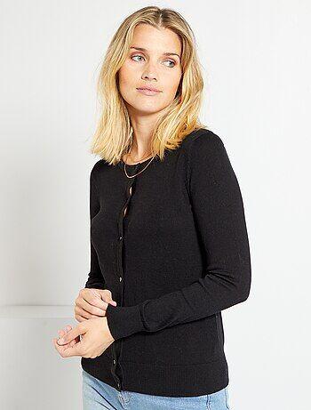 Gilet boutonné en maille fine                                                                                                                                                                                                     noir Femme