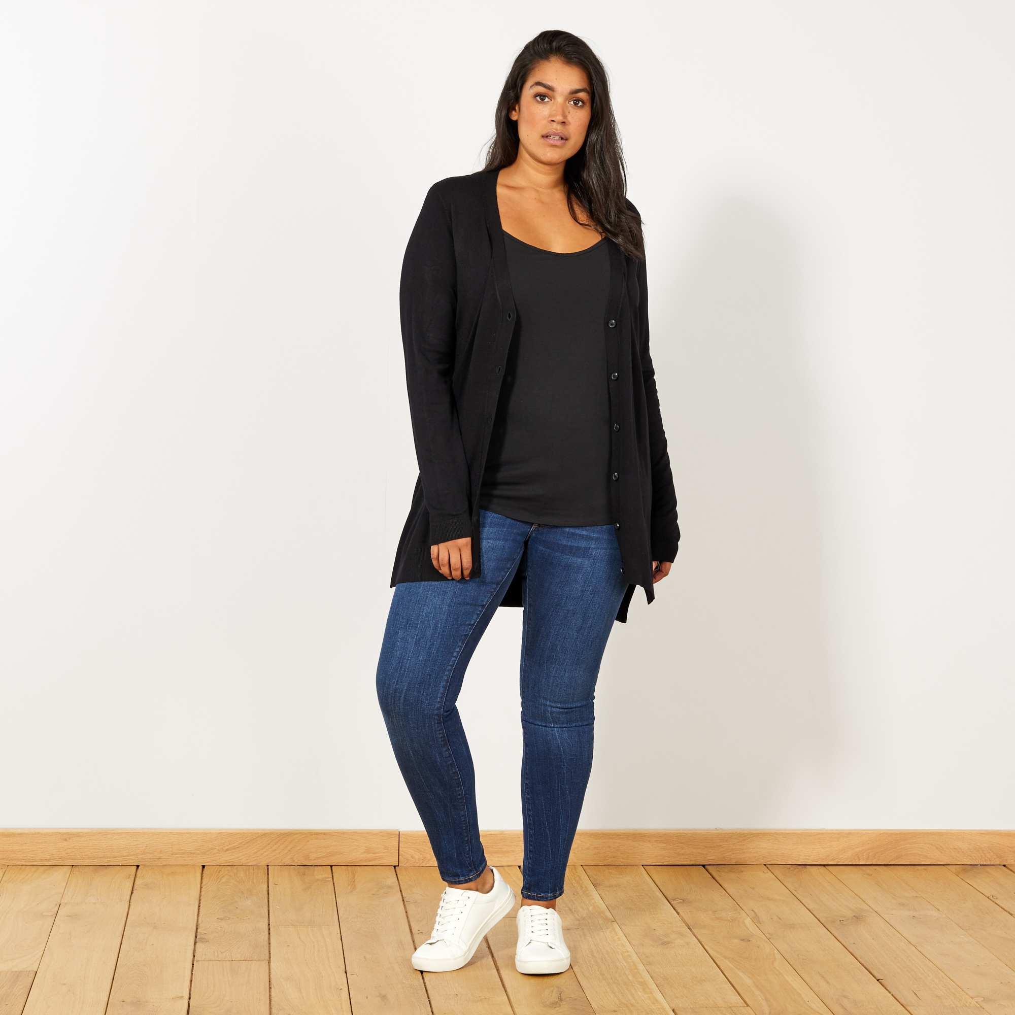 gilet boutonn fine maille grande taille femme noir kiabi 10 80. Black Bedroom Furniture Sets. Home Design Ideas