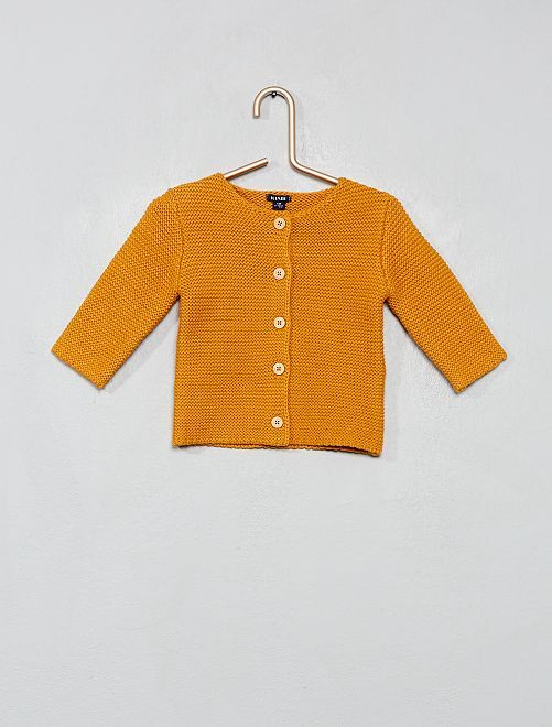 Gilet boutonné point mousse                                                                             jaune orange