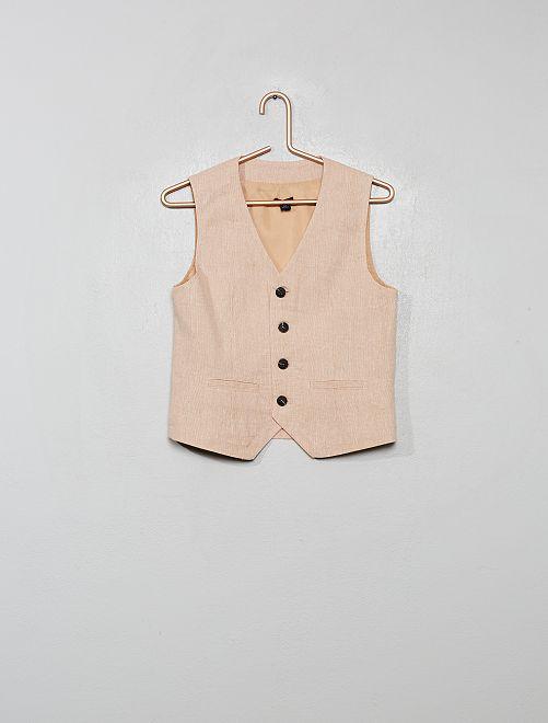 Gilet de costume lin et coton                                         beige