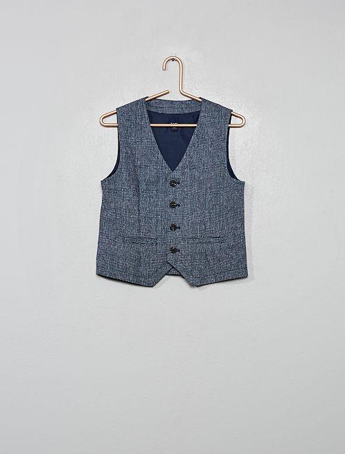Gilet de costume lin et coton                                         bleu marine