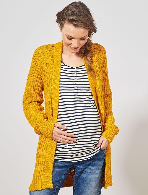 Gilet de maternité en maille                             jaune bronze