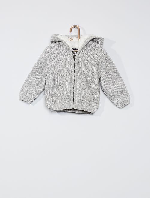 Gilet en tricot à capuche 'oreilles'                                                     gris clair