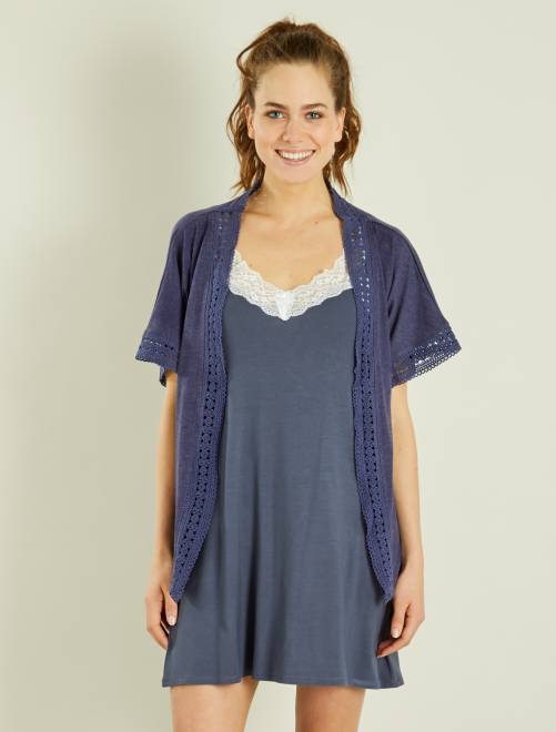 Gilet forme kimono                             bleu Lingerie du s au xxl