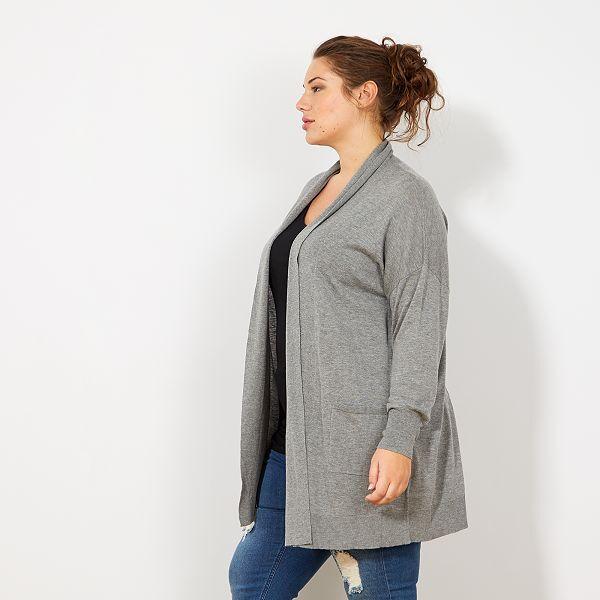 veste en maille fine longue grande taille femme