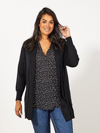 Gilet long 2 poches en maille fine                                                                              noir Grande taille femme