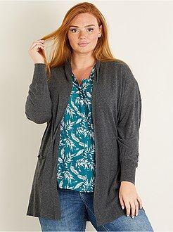 Grande taille femme - Gilet long 2 poches en maille fine - Kiabi