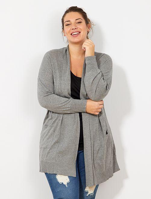Gilet long 2 poches en maille fine                                          grisd Grande taille femme