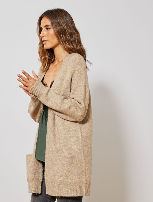 Gilet long en maille mousseuse                                                                             beige