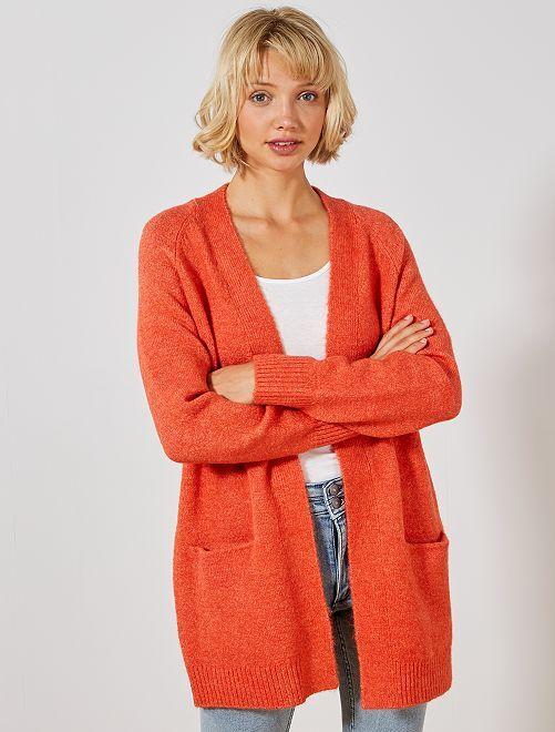 Gilet long en maille mousseuse                                                                             orange Femme