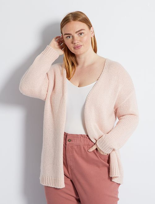 Gilet long grosse maille                                         rose
