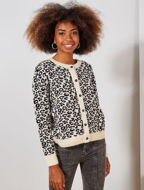Gilet motif 'léopard'                                                                 blanc léopard Femme