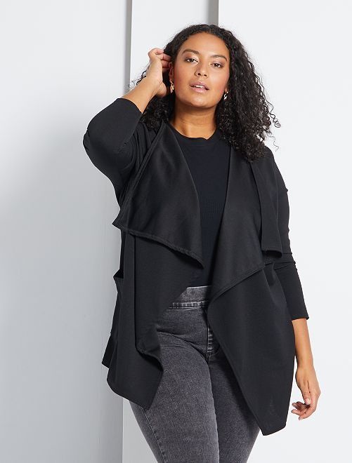 Gilet style blazer à pans maille crêpée                              noir Grande taille femme