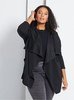 Gilet noir - Gilet style blazer à pans maille crêpée - Kiabi