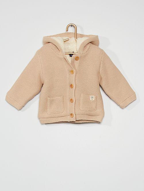 Gilet tricot à capuche                                                                 beige