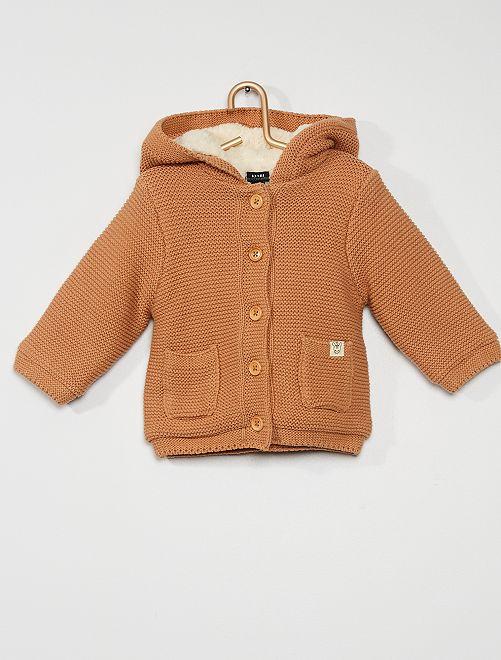 Gilet tricot à capuche                                                                 marron