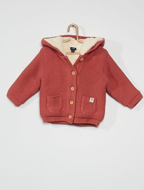 Gilet tricot à capuche                                                                 rose