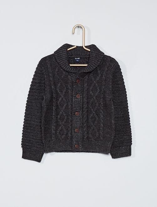 Gilet tricot boutonné                                                     GRIS
