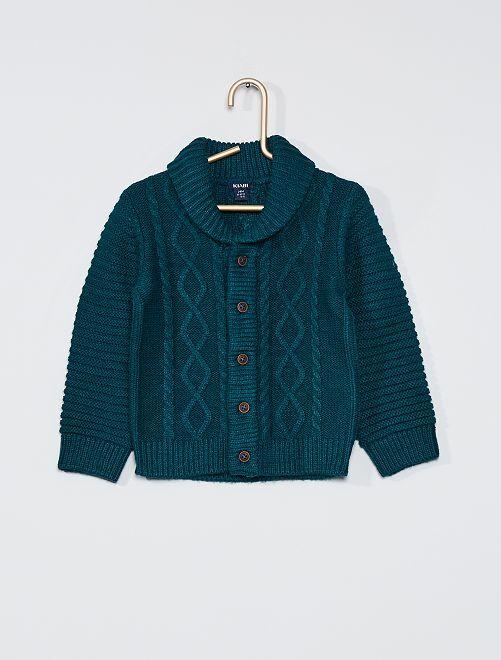Gilet tricot boutonné                                                     vert