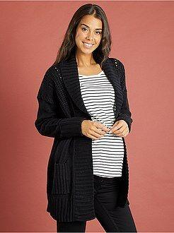 Gilet veste de grossesse en tricot col châle